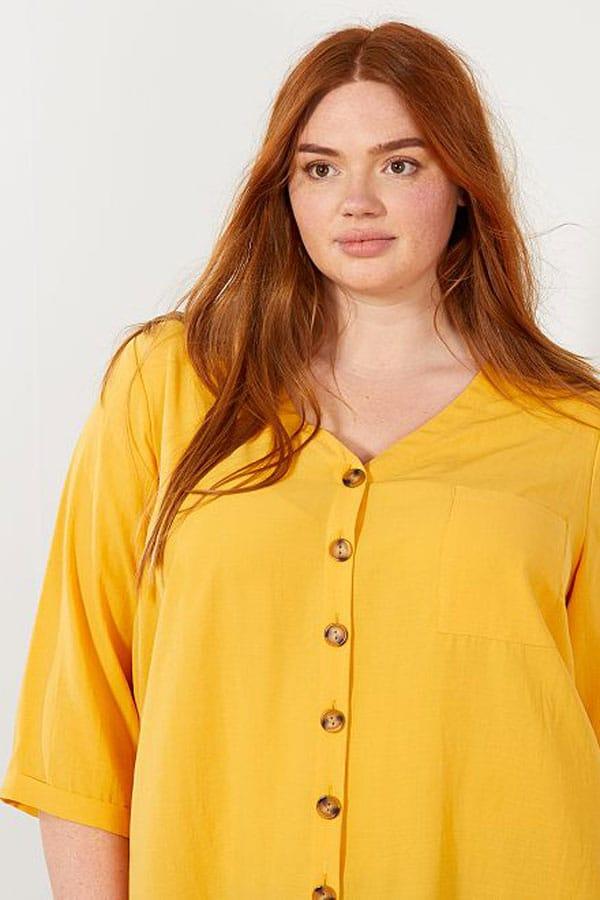Blouse jaune grande taille