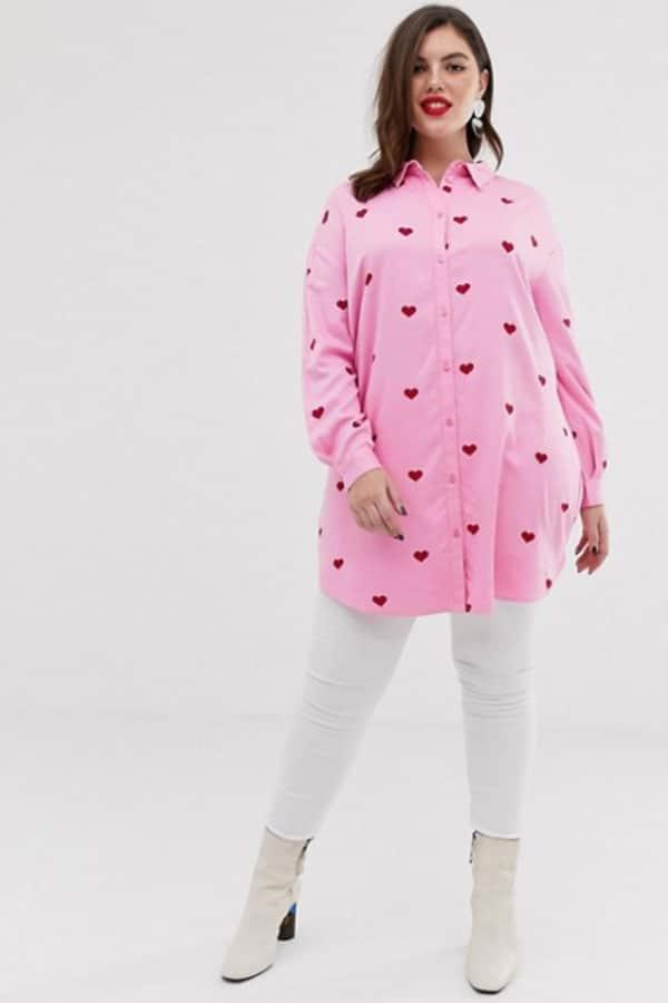 Mode grande taille : chemise femme rose