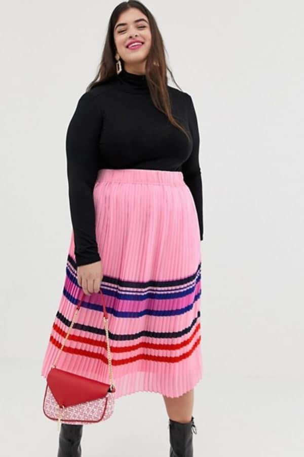 Mode grande taille : jupe longue femme rose