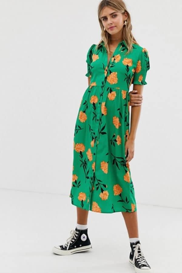 Mode printemps : robe longue à fleurs
